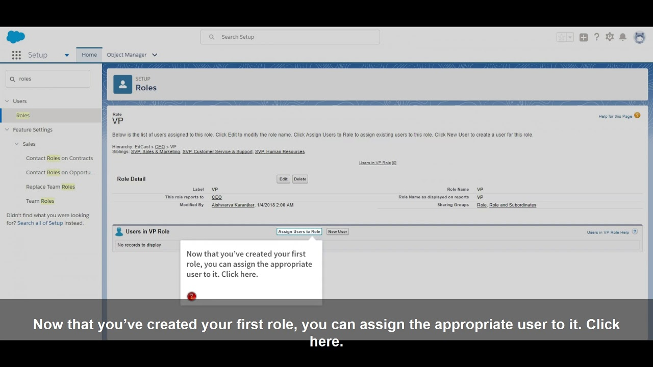 How to Define a Role Hierarchy in Salesforce Lightning