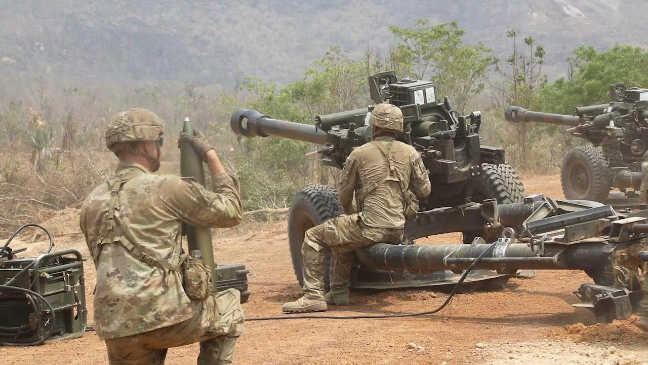 U.S. Army M119A3 Howitzers Direct Fire Practice Exercise