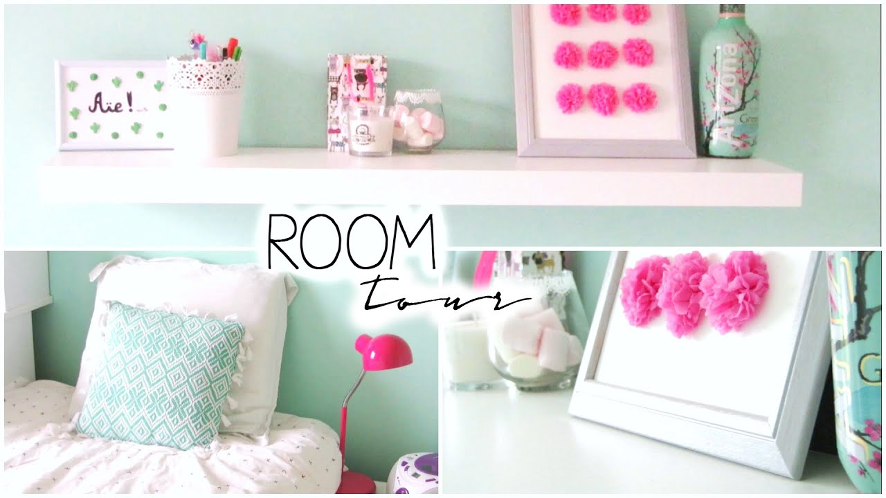 Room tour mint pastel bedroom youtube for Pastel diy room decor