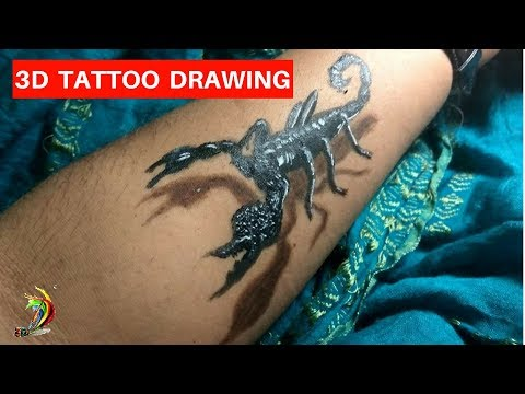 3D Scorpion Drawing /Amazing realistic illusion | 3D Scorpion Tattoo Step By Step