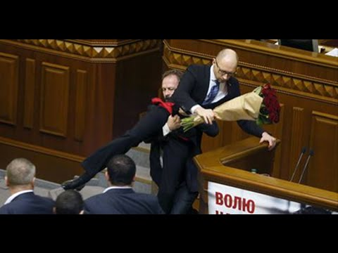 Fight in Ukrainian Parlament Arseniy Yatsenyuk