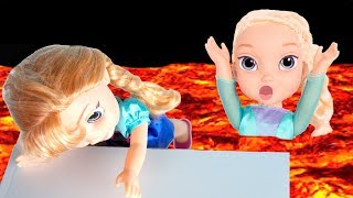 The Floor is LAVA 2 w/ FROZEN Elsa & Anna toddlers! Kids Pretend Playtime -Elsa gets mad at Anna