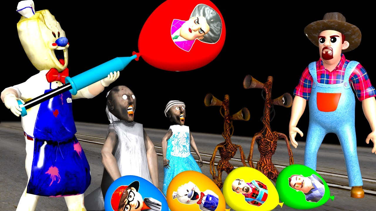Scary Teacher 3D Nick and Tani Troll Granny's Daughter vs Siren Head's Son with Pumping Balloon Mask
