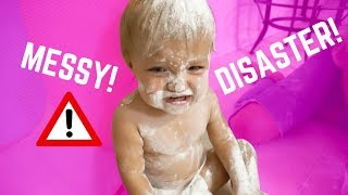TWIN BABIES VS FLOUR OBSTACLE COURSE CHALLENGE!
