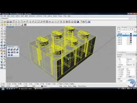 Rhino 3D Tutorial   How to create a lego brick   Beginners