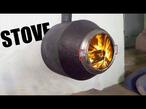 Suspended Wood Stove using a Concrete Mixer