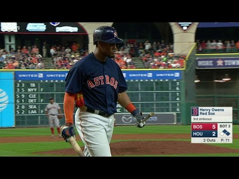 BOS@HOU: Gomez strikes out, snaps bat over knee