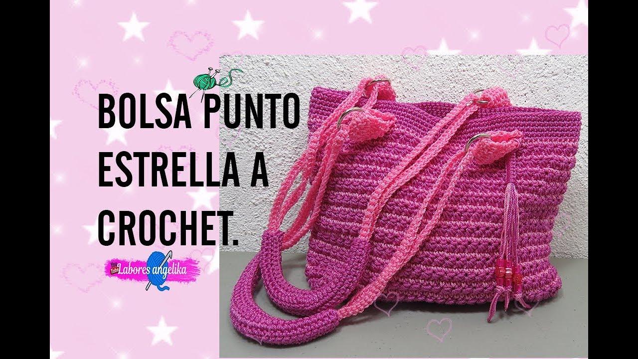 BOLSA PUNTO ESTRELLA A CROCHET. | Labores Angélika | - YouTube
