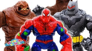 SPIDER MAN vs GIANT MUD MONSTER - TOY STORY