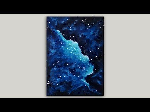 Turquoise Nebula Acrylic Paintinge #Space #GalaxyPaintings