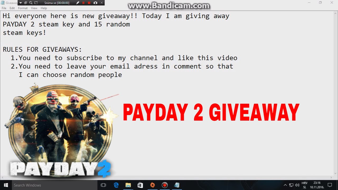 Payday giveaway