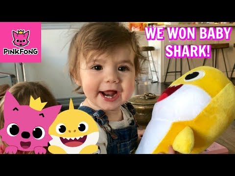 PINKFONG Baby Shark Toy Giveaway 2nd Place Prizes! Baby Reacts to Plush Doll
