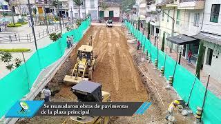 Se reanudaron obras de pavimentación de la plaza principal.