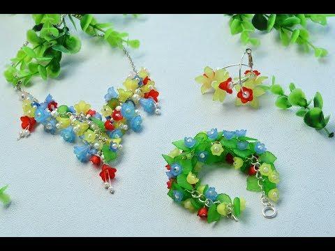 PandaHall Video Tutorial on Flower Acrylic BeadsJewelry Set