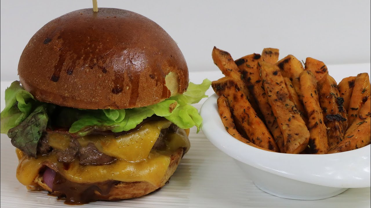 mon gourmet burger classic la plancha frites de patates douces youtube. Black Bedroom Furniture Sets. Home Design Ideas