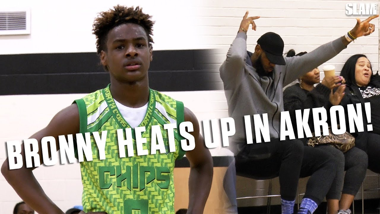 ff0394fc91f7 LeBron James Jr. gets HOT in his Hometown with Dad watching!