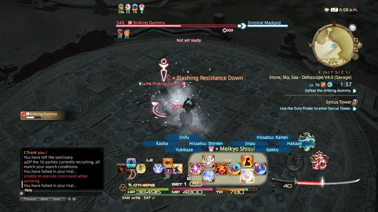 FFXIV O4S Stone Sky Sea Samurai Dummy