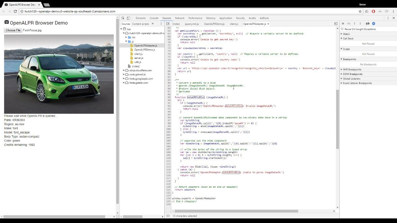 OpenALPR browser demo