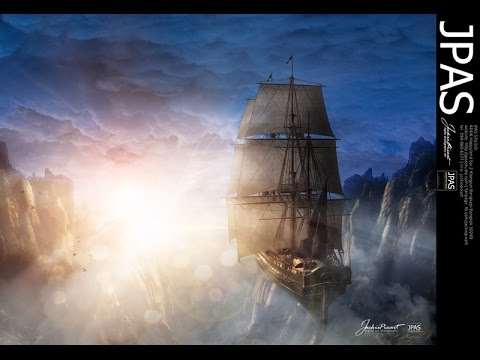 Photoshop CC Tutorial - Fantasy Manipulation The Pirate Airship By JackiePixart