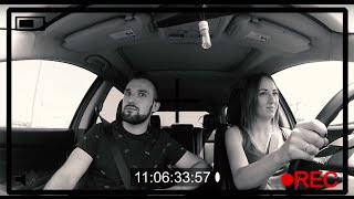 Первый раз за рулем, жена получила права!