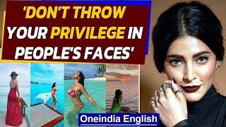 Shruti Hassan slams celebrities holidaying in Maldives | Oneindia News