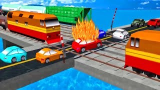 Game Cartoon Cars & Trains For KIDS | Train Videos For Children | Car Driving For Kids Local Train