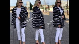 Fashionable fur coat from chinchilla premium select, special offer on tailoring, we have discounts!