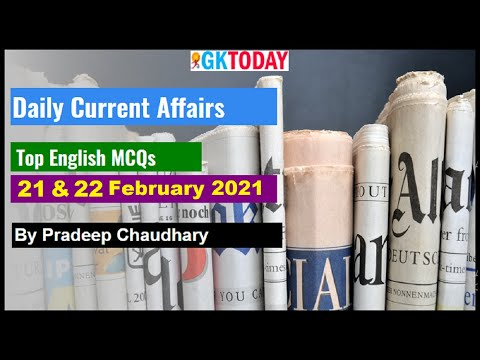 Current affairs In English   Today's GK   22 February 2021 Current affairs