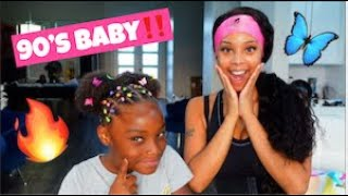 GIVING MY DAUGHTER A 90s STYLE HAIRDO!! (RUBBER BAND METHOD)