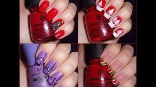 4 diseños navideños para las uñas / 4 xmas nail art