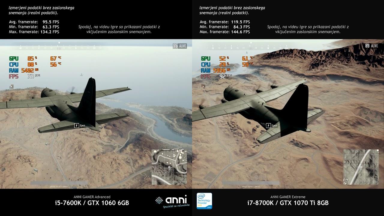 i5-7600k / GTX 1060 vs  i7-8700k / GTX 1070 Ti