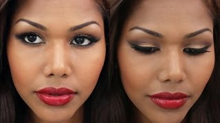Bronzy Smokey Eyes with Red lipstick | Pro Lorac Palette & Mac Rihanna Vivia Glam Thumbnail