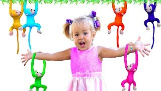 Lyuba plays with her favorite toys and helps toy monkeys | Song Nursery Rhymes for kids!