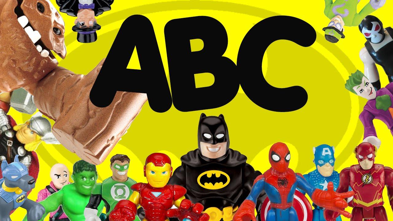 superhero abc with batman spiderman superman iron man imaginext toys youtube batman superman iron man 2
