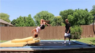 TRYING TO TEACH HER A BACKFLIP!