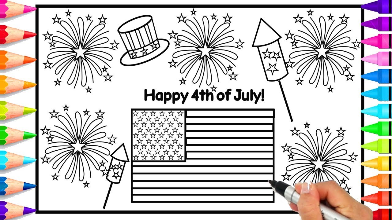 How to draw fireworks easy for kids 4th of july coloring page how to draw firecrackers