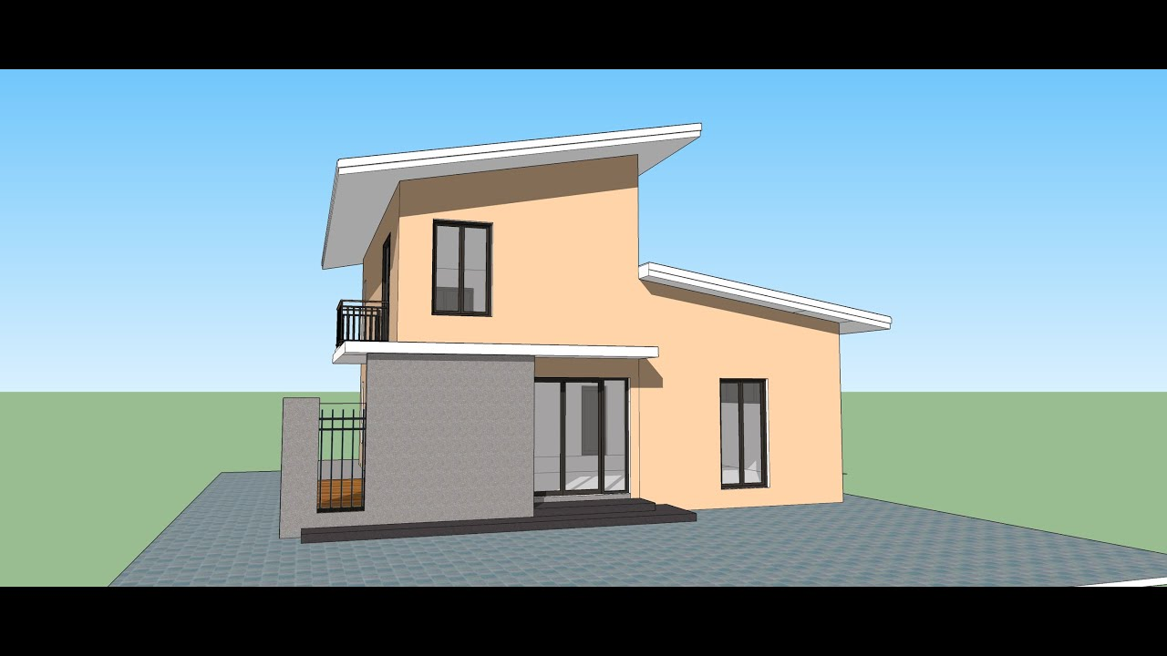 Sketchup create modern house in 15 min youtube for Simple modern house models