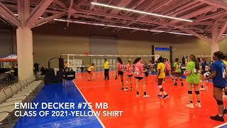 Emily Decker MB #75 [Yellow Shirt] Class of 2021
