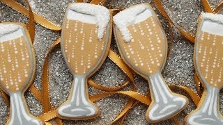 How To Decorate Champagne Glass Cookies For New Year's Eve