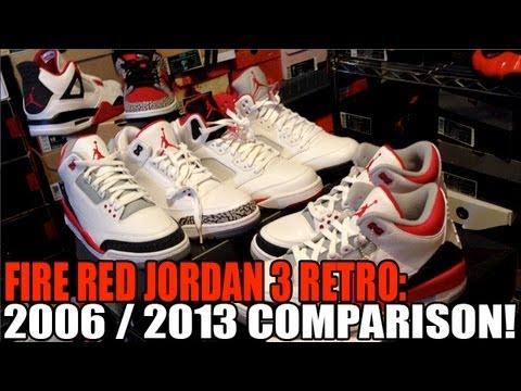 2606afb74ab993 2007 vs 2013 Fire Red Jordan 3 Retro Comparison Video - YouTube