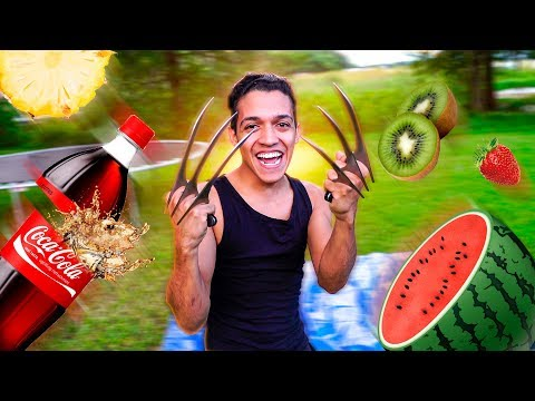 FRUIT NINJA VIDA REAL COM GARRAS DO WOLVERINE