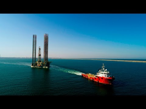 Jack up rig towing