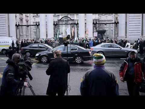 Recession Ireland - Protesters and World Media.