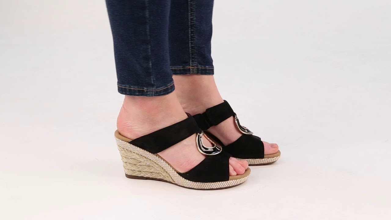 Gabor Sizzle II Black Suede Patent Womens Wedge Heel Sandals