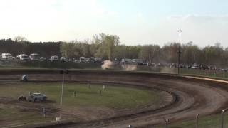Sprint Car Goes Through Fence At Cedar Lake 05/02/2015