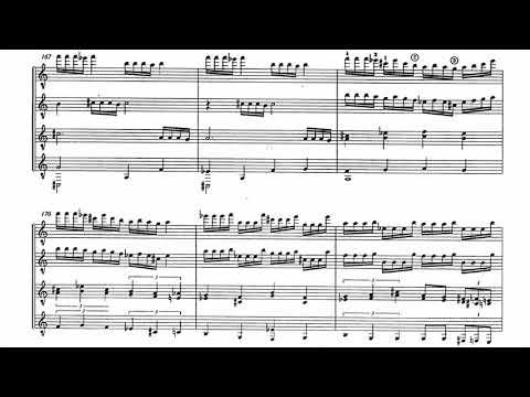 Sergio Assad - Uarekena for Guitar Quartet (Score video)