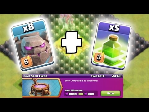 NEW JUMP SPELL EVENT!!! 😀 SUPER JUMP WITH GOLEMS!!🔸Clash of clans