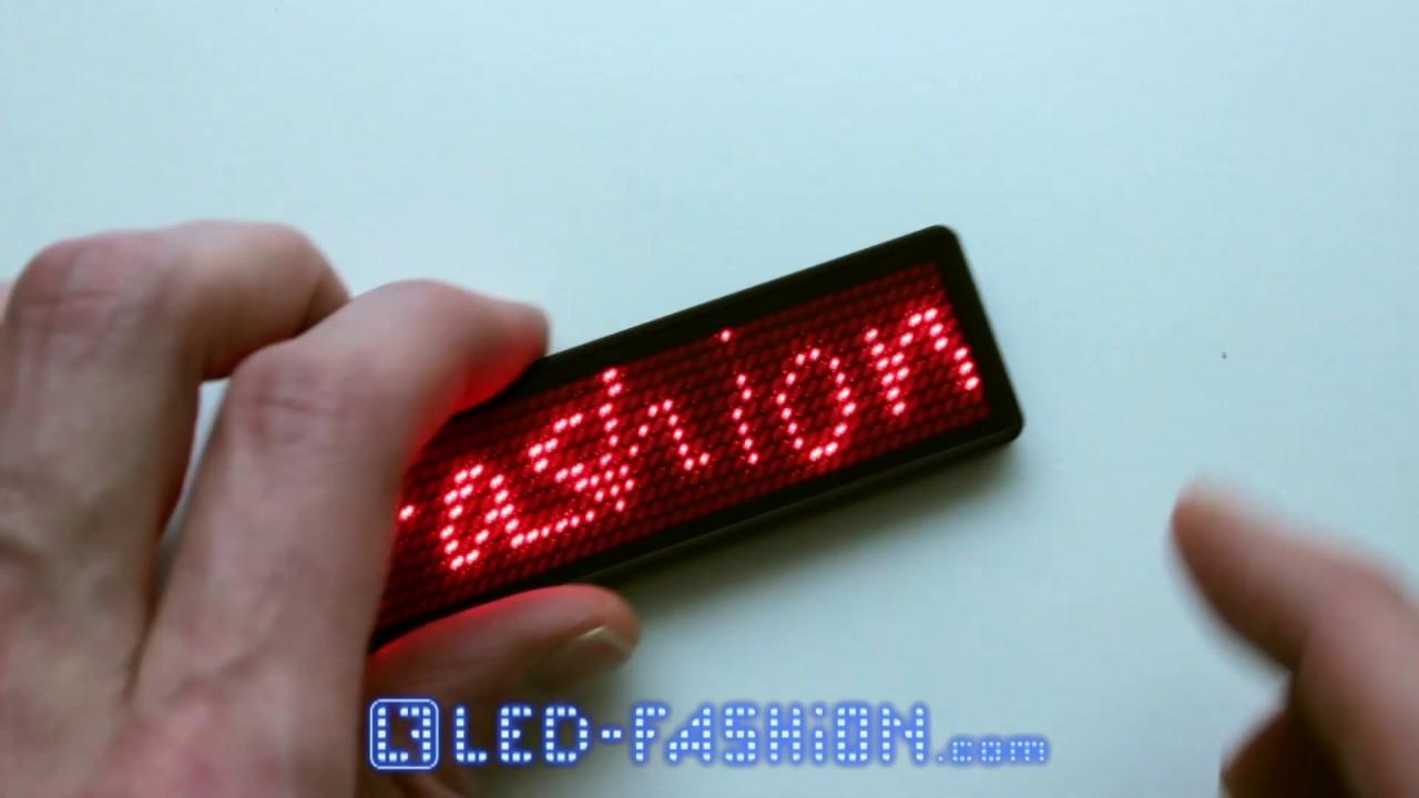 LED Namensschild 11x44 Pixel Programmierbar USB Name Tag Badge Laufschrift DE