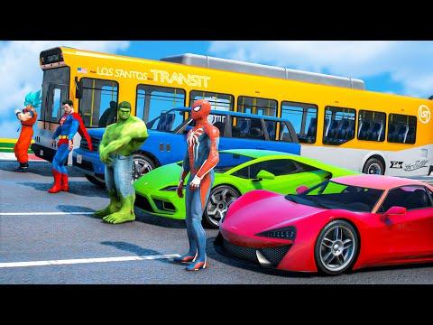 SUPERHEROES CARS Race Challenge on Mega Rampa ! SPIDERMAN HULK Superman Car Racing - GTA 5 #269 |