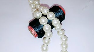 How To Make Silk thread Pearl Necklace//Braid Necklace At Home..!